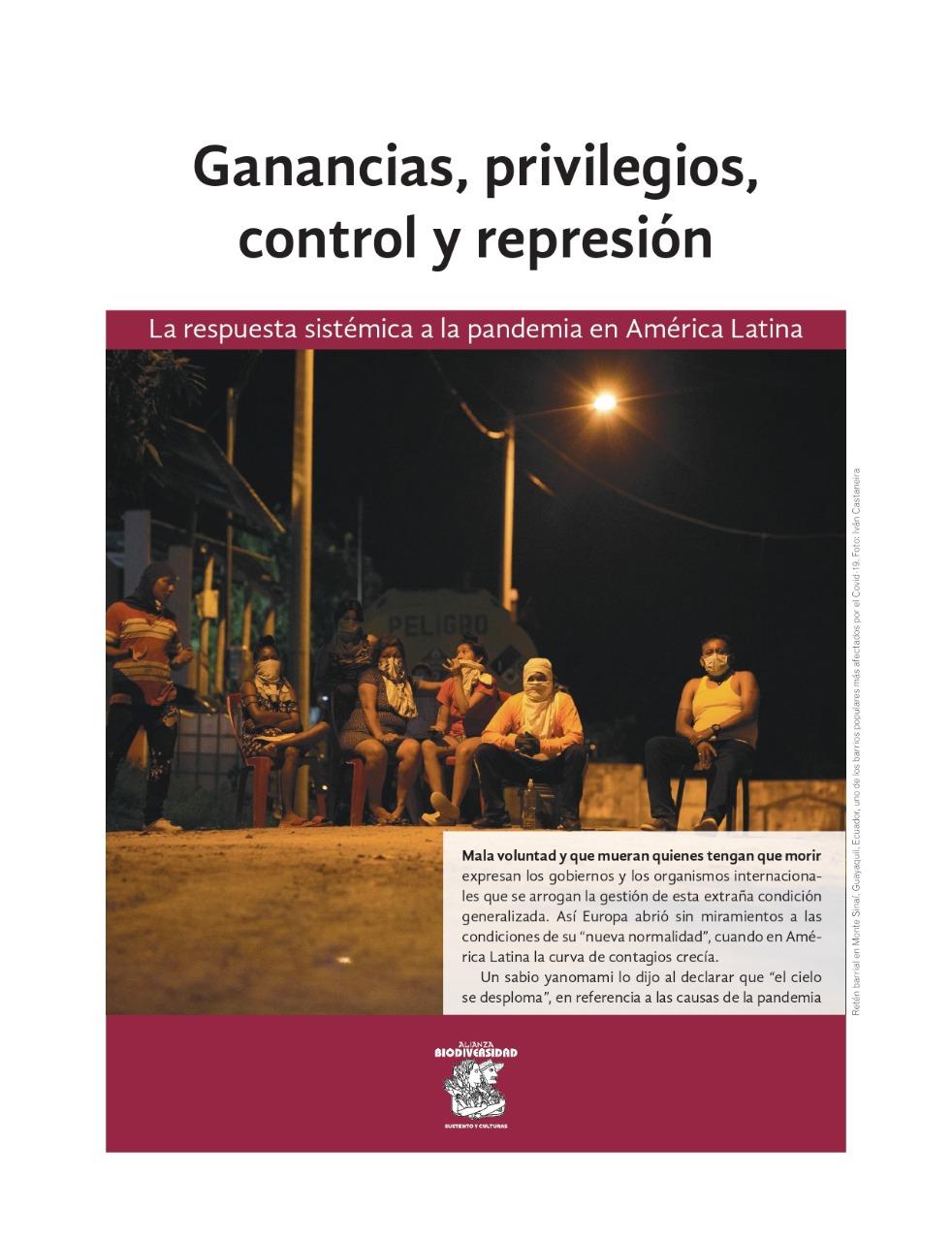 Grafica alusiva a Ganancias, privilegios, control y represión